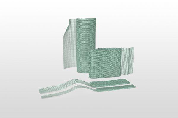 Showing Sorbact Ribbon Gauze product range. 3 different sizes and shapes.