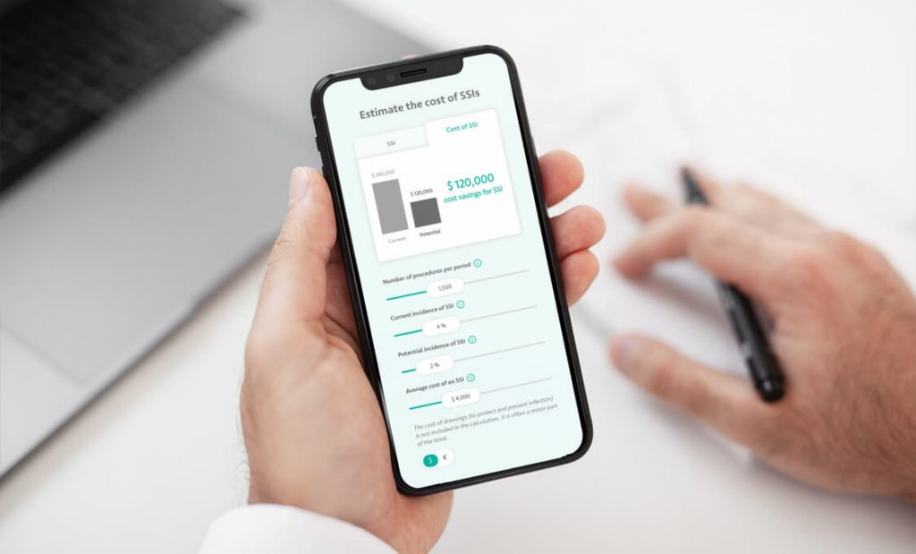 Hand holding a smartphone showing Sorbact value calculator